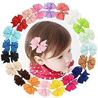 txian Lot de 20pinces à cheveux en ruban gros-grain avec nœud à fleurs Accessoires cheveux pour filles Kid bébé