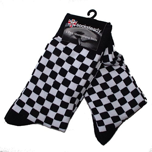 Made in England Men's Black and White 2 Tone Check Socks - Pack of 2 Pairs