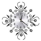 ROSENICE Horloge murale Modern Metal Diamonds Fleur Horloge silencieuse Art en mur 3D Maison de bureau Décoration de salon (noir)