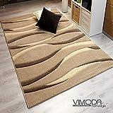 Vimoda infinity6084Lallee-Alfombra, Rayas, handgeschnittene contornos, Tejido ecológico Certificado, Cuidado fácil, Beige, 200 x 290 cm