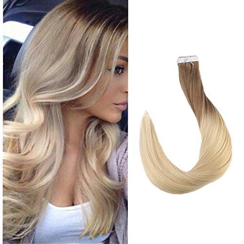 Full Shine Tape Haarverlängerung 14 Zoll 20 Stücke Ombre Haarfarbe # 6 zu # 613 verblassen Blonde Two Tone Balayage Haar Dip Dye Tape auf menschliches Haar