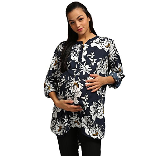 Wobbly Walk Women's Round Neck, Full Sleeves, Floral Print, Maternity Tunic, Blue