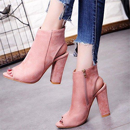 (XXM-Shoes Fisch Mund Outfit Seite Zip Hochhackigen Sandalen Fashion Satin Sandalen Dick mit Einfach und Elegant Frauen Sandalen Casual Weiblich Sandalen, Pink ;37)