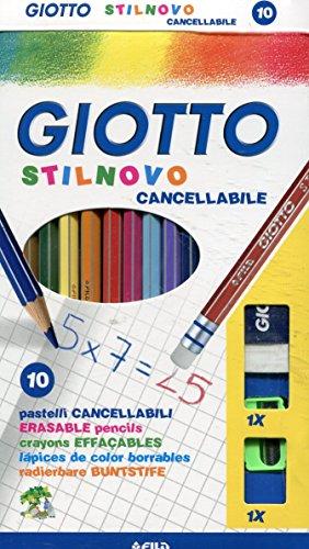 Giotto 2568 00 Stilnovo Radierbarer Farbstift, inklusiv Spitzer und Radierer, 10-er Etui, farbig sortiert