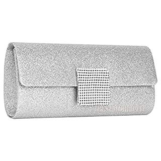 Wocharm Womens Shimmer Handbag Ladies Glitter Bridal Party Evening Prom Envelope Clutch Bag Large Purse (Silver)