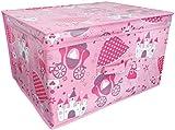 New Kids Folding Storage Chest 50cm x 30cm x 40cm Girls Pink Princess Toy Box