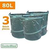 GardenMate 3x Pop-up Gartensack 80l - Selbstaufstellend aus robustem PE-Gewebe