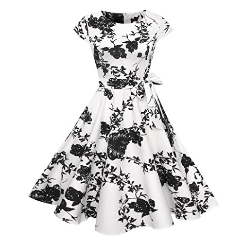 UFACE 2018 Summer 50s Retro Vintage Rockabilly Kleid Partykleider Cocktailkleider (Weiß -Stil 27, S)