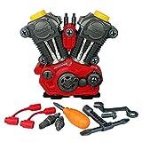 TianranRT Licht & Ton Motorrad Motor Baumeister Set Kinder Bildungsprogramm Pretend Spielzeug