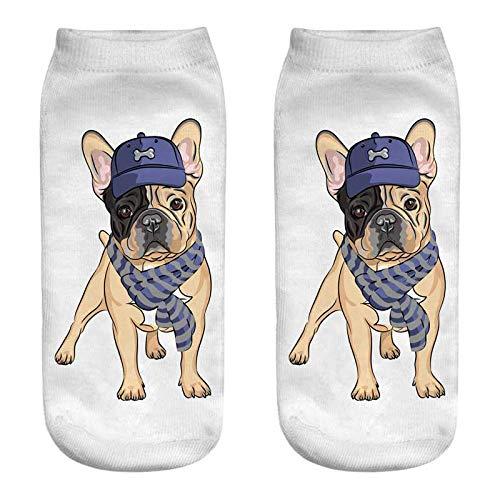 (GSYDWZZH 5x 3D Socken Cartoon Hund Mops Summer Cool Buchse Slim Crazy Socken Nahtlose weiblich 3D Print angenehmen Art, JP249)