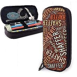Shaffer American Nachname Große Kapazität Leder Federmäppchen Stifthalter Aufbewahrungstasche Box Organizer College Make-up Stift Tragbare Kosmetiktasche