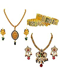 Suratdiamond Surat Diamonds 2 Indian Motif Designed Coloured Stone & Gold Plated Pendant Necklace And Earring...