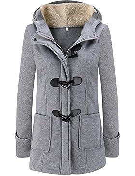 LooBoo Mujer Invierno Abrigo Casual Sudadera con Capucha Chaqueta de Lana Capa Jacket Parka Pullover Pea Coat