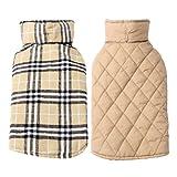 AIYUE® Warm Reversible Plaid Dog Vest Winter Coat Dog Apparel for Cold Weather