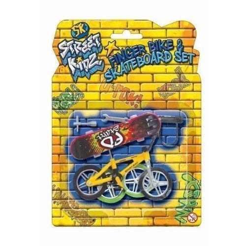 KT Die-Cast Kunststoff-Spielzeug-Set Finger Bike & Brett Skateboard Skate-Druckguss Zubehör-Set (Bmx Bikes Games)