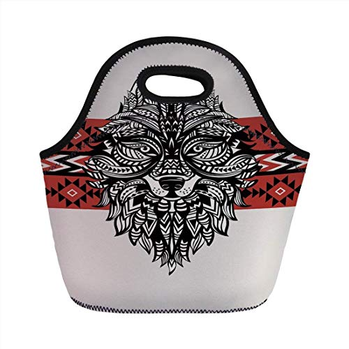 Portable Bento Lunch Bag,Wolf,Tattoo Style Ethnic Totem Style Animal Face with Swirls Geometric Triangle Motifs Decorative,Red Black Cream,for Kids Adult Thermal Insulated Tote Bags (Tasche Tattoo Duffle)