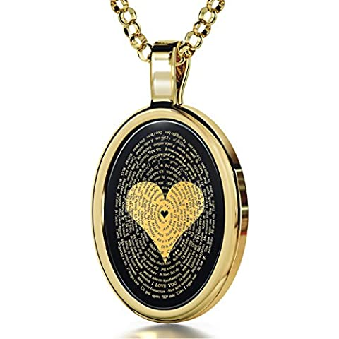 Collar con I Love You en 120 idiomas inscrito en oro 24ct sobre colgante de ónice, 45cm - NanoStyle Jewellery