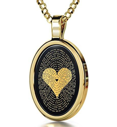"""Romantischer Goldschmuck für SIE - Gold-Halskette mit Anhänger """"Ich liebe dich"""" in 120 Sprachen, 14-Karat Gold auf Onyx-Edelstein - Geschenkidee Geburtstag, Weihnachten, Jahrestag, Valentinstag"""