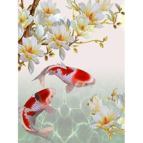 Diamond Painting 5D DIY Full Square Round Diamond Painting Animal Fish koi Flower Rhinestone Mosaic Diamond Embroidery Cross Stitch Home Decor-Round Drill,30x40cm (Stitch Cross Fish Koi)