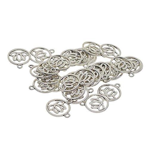 MagiDeal 30x Tibetischen Silber Aushöhlen Yoga Lotus Blume Anhänger Charms Charming Beads