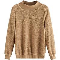 Hanomes Damen pullover, Damen Einfarbig Tops Plüsch Rundhals Langarm Pullover Warme Bluse preisvergleich bei billige-tabletten.eu