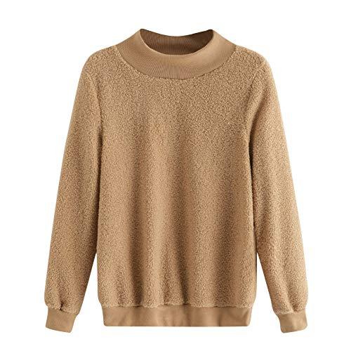 Dorical Frauen Kaffee Farbe Tops Plüsch Rundhals Langarm Pullover Warme Bluse für Damen Clearance
