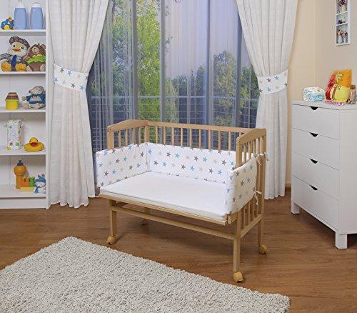 WALDIN Baby Beistellbett mit Matratze und Nestchen, höhen-verstellbar, 16 Modelle wählbar, Buche Massiv-Holz natur unbehandelt,Sterne-grau/blau