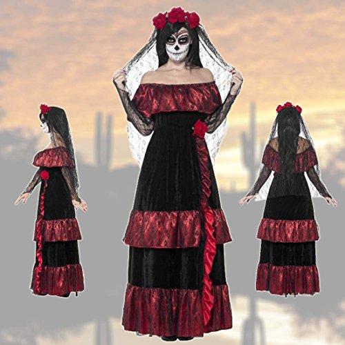 NET TOYS Sugar Skull Kostüm Gothic Brautkleid L 44/46 Tag der Toten Outfit Dia de los Muertos Braut La Catrina Damenkostüm Calavera Verkleidung ()