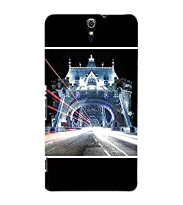 For Sony Xperia C5 Ultra Dual :: Sony Xperia C5 E5533 E5563 beautiful building ( beautiful building, building, bridger, lighting, black background ) Printed Designer Back Case Cover By TAKKLOO