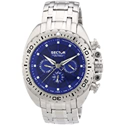 Sector Men's Quartz Watch with Blue Dial Chronograph Display and Silver Stainless Steel Bracelet R3253573002