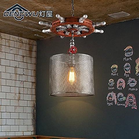 ZJM Lustre en fer forgé de création industrielle vintage bar café bar et restaurant de la personnalité du gouvernail pendant 500*520mm