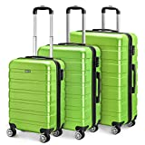 Amasava Set of Tres Maletas,Juego de Maletas Rígidas,Candado TSA,43L/65L/101L,ABS+PC,4 Ruedas multidireccional,Verde