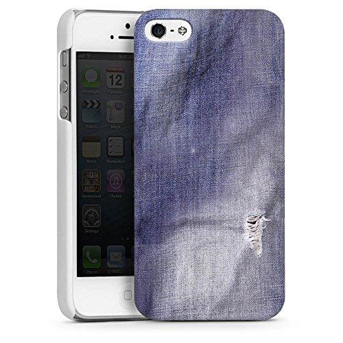 Apple iPhone 5s Housse étui coque protection Gris Gris Look couleur jean CasDur blanc