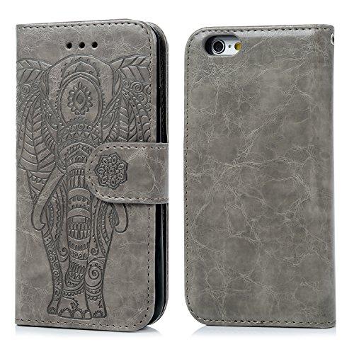 Coque iphone 6 6S, Case Flip Cover Clapet 2 en 1 Housse Protecteur en Cuir PU avec TPU Silicone Case Coverture - Gris Gris