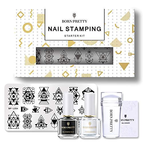 BORN PRETTY Nail Stamping Kit 2 Bottles Stamping Nail Polish Stamping Plates Nail Stamper Scraper-Set 1