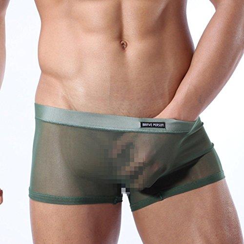 Preisvergleich Produktbild Swallowuk Männer Sexy Dessous Unterwäsche Herren Transparente Slips G-Strings Tanga Erotik Reizwäsche Unterhosen Netzgarn Mesh Boxershorts (L, Armee-Grün)