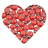 DEKOWEAR® Marienkäfer selbstklebend mit Klebepunkt | Zum dekorieren aus Holz, 11 mm als Glückskäfer Deko | Handgearbeiteter Mini Holz-Käfer Glücksbringer zum kleben [Rot, 100 Stück]