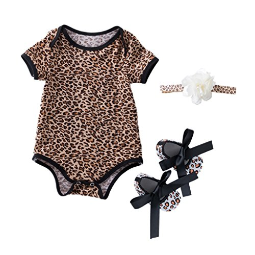 MagiDeal Baby Mädchen Bekleidungsset 3 Stück Body Strampler Overall mit schuhe Stirnband Kleidung Sets - Leopard, S für 3-6Monate - Leoparden-strampler