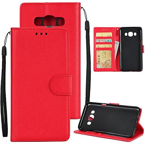 XHD-Phone protection XHD-Telefonschutz für Samsung Mit Lanyard, Card Slot, Magnetische Schnalle Öffnen Sie die Telefon Shell für Samsung Galaxy J510 Einfach & praktisch (Color : Red) (Classic Slip Schutz Plus)