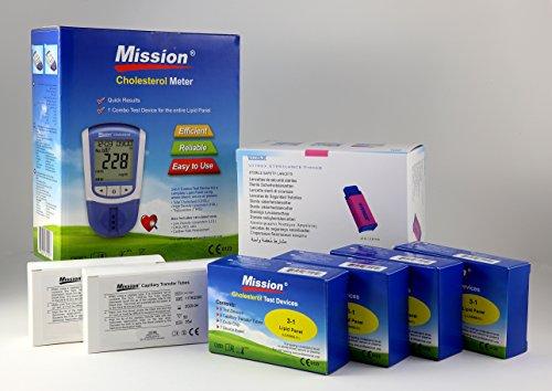 MISSION Misuratore COLESTEROLO 3IN1 Starter Kit (HDL, LDL, ColesteroloTotale, Trigliceridi) + 20 DispositiviDiTest + 100 Pipete Capillari + 100 Lancette Pungidito Sterili