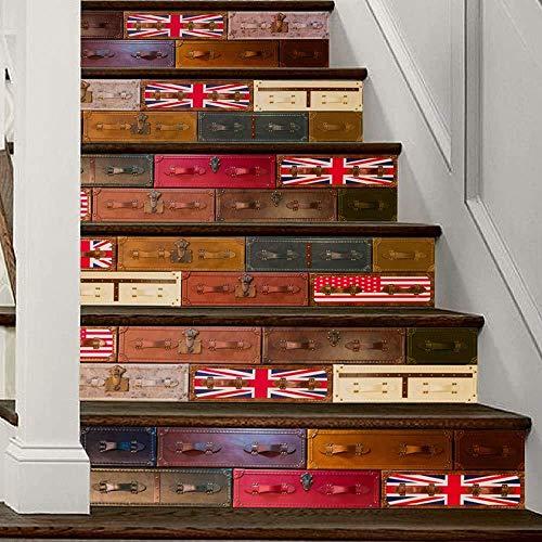 6 PCS Floral Tile selbstklebende Treppe Aufkleber abnehmbare Fliesen-Abziehbilder - Treppe Riser Backsplash für Wohnzimmer, Flur, Kinderzimmer Dekor