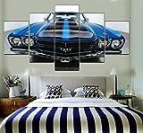 Mur Moderne Art Décoration de La Maison Photos 5 Panneau Chevelle SS Bleu Noir Muscle Voiture Cadre De Décoration Cadre Toile d'impression Type