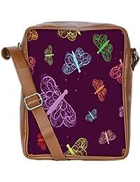 Snoogg Green Flowers Sling Bags Crossbody Backpack Chest Daypack Travel Bag Book Bag For Men&Women