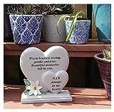 Ornamento commemorativo per tomba, in resina, con doppio cuore e poesia