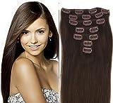 Schneiden Sie in 70 Gramm echten menschlichen Haarverlängerungen Remy 50cm, # 2 dunkelbraun
