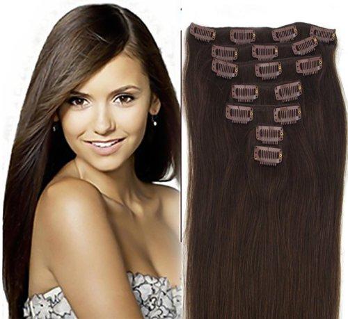 Couper dans 70 grammes de Extensions de vrais cheveux humains Remy 50cm, #2 brun foncé