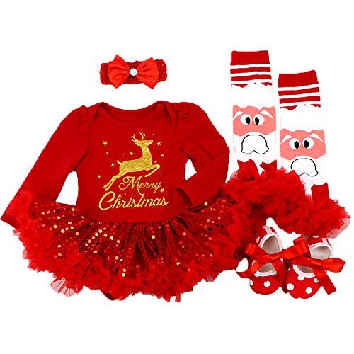 Babypreg neonate mio primo natale costume della santa del partito del vestito 4pcs (l/9-12mesi, cervi rossi e flash)