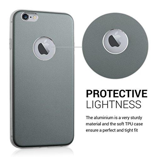 kwmobile Hardcase Schutzhülle für Apple iPhone 6 / 6S mit Aluminium Backcover und TPU Silikon Rahmen Bumper - Case Cover Hülle in Grau .Grau