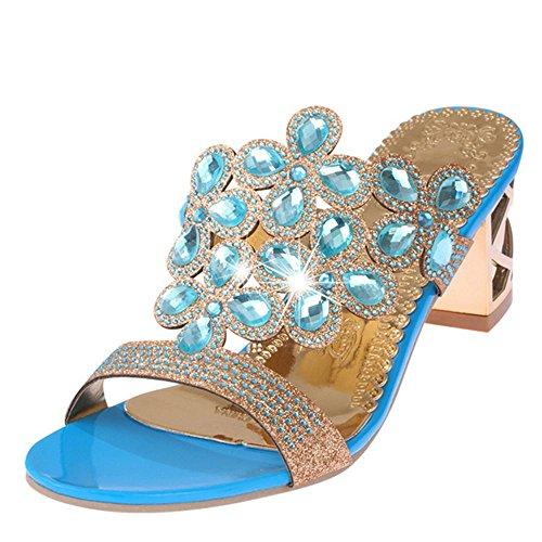 Heart&M Mode strass découpes de talon haut de femmes Parti / chaussures de plage Pantoufles Sandales Sky Blue