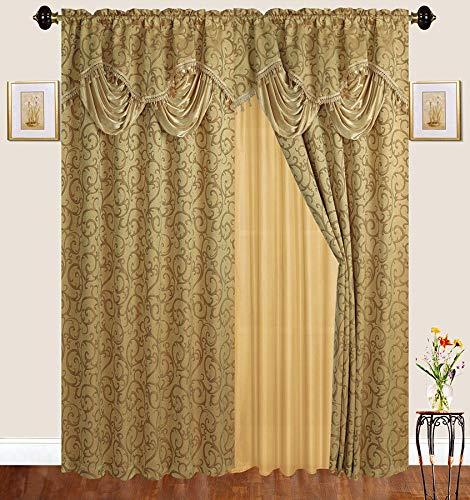 Bestickt, mit Gardinenstange, mit durchsichtiger Rückseite und angebrachtem Querbehang für Wohnzimmer/Schlafzimmer Gold ()